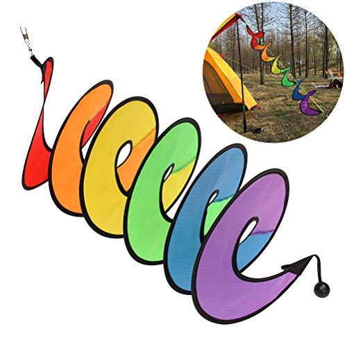 Woorea Molinillo de Arcoíris Plegable,Spinner Espiral para El Viento,Colorido para Colgar,Tienda de Campaña,Exteriores,Spinners Tienda de Campaña Decoración Bandera