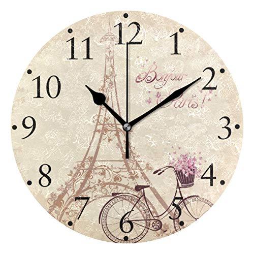 Bonjour Paris Retro Torre Eiffel Bicicleta Relojes de Pared Funciona con Pilas Hogar Decorativo Reloj de Pared Redondo Cocina Dormitorio Sala de Estar Aula Reloj de Oficina
