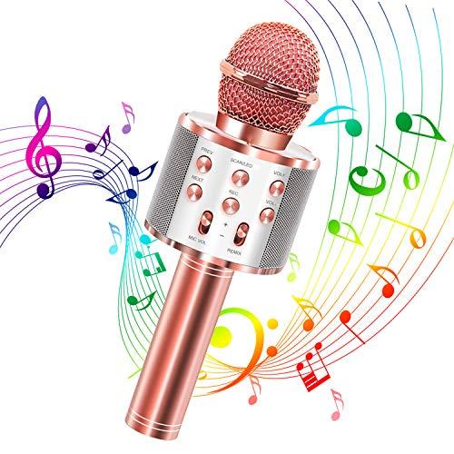 Micrófono Karaoke Bluetooth, Microfono Inalámbrico Karaoke 4 en 1 Reproductor portátil con Altavoz para Cantar y Grabar, Compatibile con Android/iOS/PC Teléfono Inteligente(Oro Rosa)