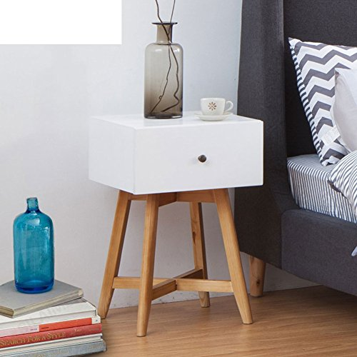 FJIWDTGYHFGT Simple Nordic massief houten nachtkastje, slaapkamer montage lade kleine opslag dressoir modern creatief wit geheugen hoek