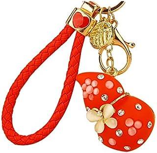 Luxurious Gift Rhinestone Cute Gourd Car Key Chain Female Bag Pendant Keychain Crystal Key Ring Charm Jewelry Red