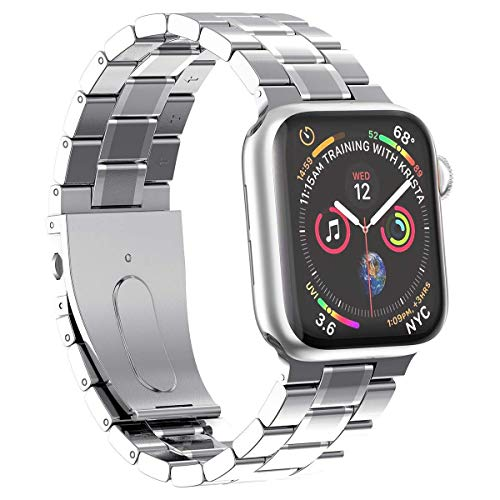 Metal Bands Compatible with Apple Watch 38mm 40mm 42mm 44mm Stainless Steel Strap Replacement Link Bracelet Band Sport Soft Breathable for Iwatch Series 6/SE/5/4/3/2/1 for Women Men Girl Boy, Black wa