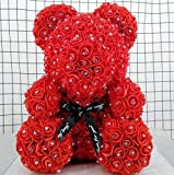 NO BAND 25 Cm Rosa del Diamante Orsacchiotto con Regali di Diamanti Pietra Artificiale Roses Roam Rose, Fiori di Orso Rose San Valentino della Mamma (Color : Red)