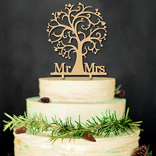 YAMI COCU Mr and Mrs Cake Toppers Bride and Groom Rustic Wood Tree Wedding Aniversary Party Engagement Decoration