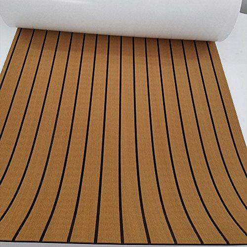 "Eva Synthetic Teak Deck Mat For Boat UV Resistant 94.5""x35.4"" Light Brown"
