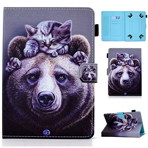 Funda Universal para Tableta de 7 Pulgadas, Ranuras para Tarjetas para iPad Mini,Galaxy Tab A /4 7.0/3 Lite,Huawei MediaPad T3 7, Kobo Aura H2O Edition 2, Lenovo Tab 7 Essential (Oso)