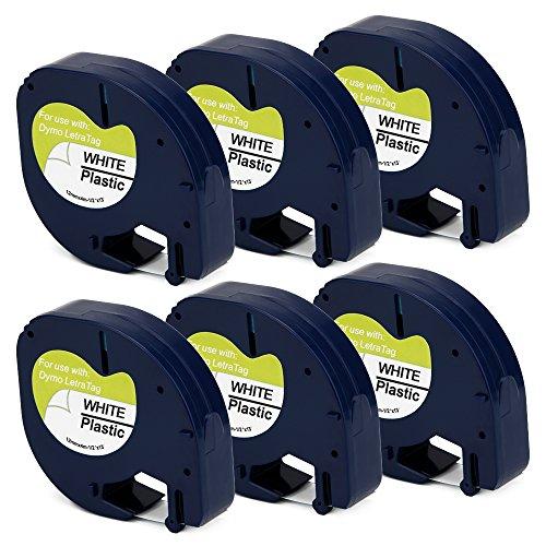 OfficeWorld 6 x Compatible DYMO LetraTag 91201 S0721610 Cintas de Negro sobre blanco Plastico Cinta de etiquetas, Compatible para DYMO LetraTag LT-100H, LT-100T, LT-110T, QX 50, XR, XM Label Makers