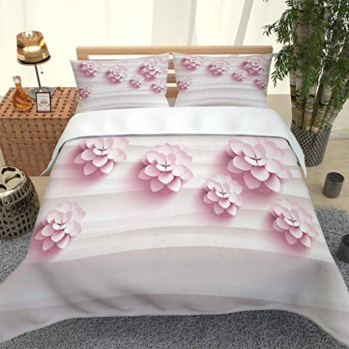 RQXRTR Single Duvet Cover Set 135X200cm 3 Pcs Pink Floral Print Printed Bedding Set With Zipper Soft Easy Care Microfiber Quilt Cover Sets, Kids Baby Duvet Cover With 2 Pillowcases 50X75cm