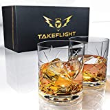 Premium Whiskey Glasses – Lead Free, Thick Weighted Crystal | 12oz Set of 2 – Ornate Design –...