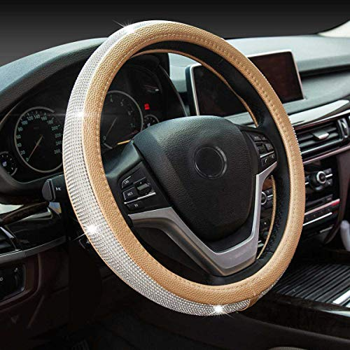 Diamond Leather Steering Wheel Cover with Bling Bling Crystal Rhinestones,Large-Size for F150 F250 F350 Ram 4Runner Tacoma Tundra Range Rover Model S X with 15 1/2 inches-16 inches (Gold)