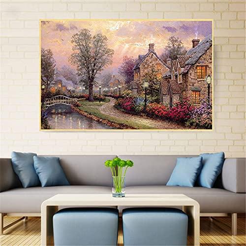Lienzo pintura paisaje pared arte Retro Vintage cartel paisaje urbano pueblo pared cuadros para sala de estar costera decoración del hogar 60x90 CM (sin marco)