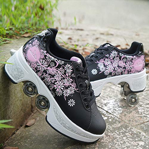Unisex Rollschuhe Casual Sneakers Walk Skates Männer Frauen Kinder Runaway Skates Vierrädrige Deform Wheel Skates Geeignet Für Anfänger,Black-EU40