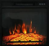 """HOSEOKA 18"""" Electric Fireplace Insert, Electric Fireplace Heater for TV Stand Indoor Electric Stove with Remote Control, Adjustable Log Flame, 1400W(US in Stock)"""
