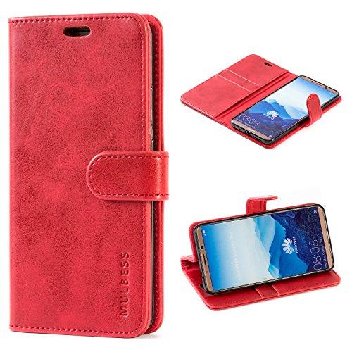 Mulbess Handyhülle für Huawei Mate 10 Pro Hülle, Leder Flip Hülle Schutzhülle für Huawei Mate 10 Pro Tasche, Wein Rot