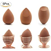 Fomei Rose Gold Antibacterial Makeup Sponge Holder Beauty Sponge Holder Drying Rack Egg Powder Puff Display Stand (3 Pack)-Soft Foundation Blending Sponge, Flawless Beauty Blender (3 Pack)