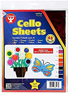Hygloss Products Cellophane Sheets - 6 Sheets of 8 Bright, Vivid Colors - Great for Arts, Crafts, DIY Projects, Wrapping Gifts, Classroom Activities, Holidays & Much More - 8.5 by 11-Inches, 48 Pack