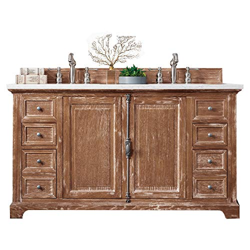 Great Price! Providence 60 Double Vanity Cabinet, Driftwood, with 3 CM Classic White Quartz Top w/S...
