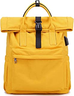 Portable Backpack Girl School Bag Solid Color Traveling Backpack Travel Toiletry Bag Garment Bags for Travel ; (Color : Yellow, Size : Free Size)