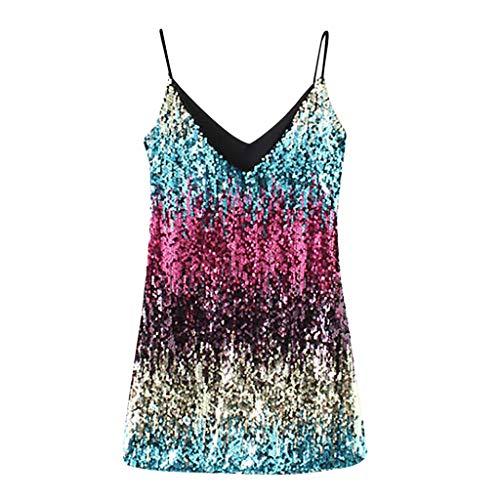 Sunsean Damen V-Ausschnitt Neckholder-Kleid mit Pailletten Schlinge Flapper Party Club Midi Casual Kleid Shirt M mehrfarbig