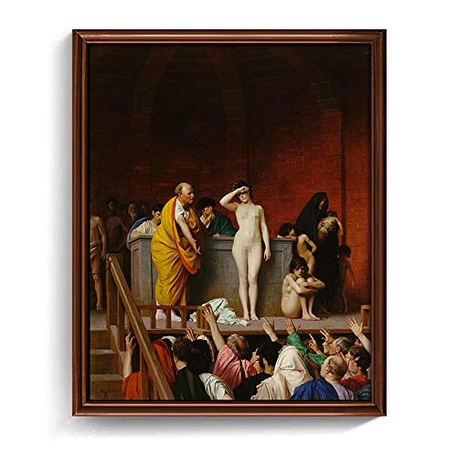 Unbekannt HD Römischer Sklavenmarkt von Jean-Leon Gerome Leinwanddruck künstlerische Replik Gemälde -60x75cm No Frame