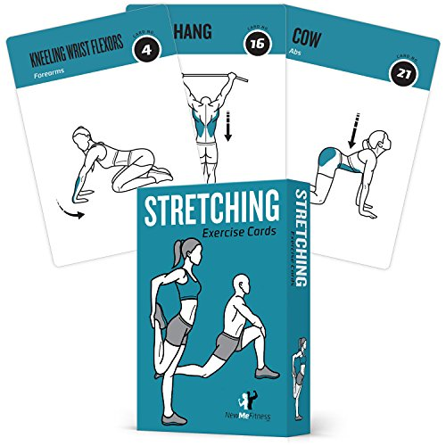 NewMe Fitness Stretching Flexibility Exercise Cards - 50 Stretching Exercises – Increase Flexibility – Prevent Muscle Strains, Promote Circulation + Speed up Recovery Time - Large, Durable Cards