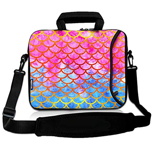 RICHEN 14 15 15.4 15.6 inch Laptop Shoulder Bag Messenger Bag Case Notebook Handle Sleeve Neoprene Soft Carring Tablet Travel Case with Accessories Pocket (14-15.6 inch, Mermaid Scale)