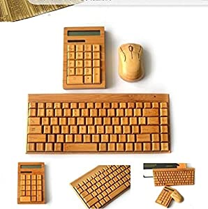Smart Tech Small 88 keys Handcrafted Natural Bamboo Wooden PC Wireless 2.4GHz Keyboard and Mouse Combo + Free Smart Tech Touch Pen + Bamboo Calculator [並行輸入品]