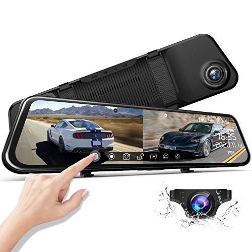 """AZDOME 11.8\"""" Spiegel Dashcam mit Rückfahrkamera, Super Nachtsicht, Loop-Aufnahme, G-Sensor, Einparkhilfe, Parkmonitor Autokamera Dual Lens[1296P, 170°Vorne; 1080P, 150°Hinten](PG17)"""
