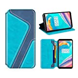 MOBESV Smiley OnePlus 5T Hülle Leder, OnePlus 5T Tasche Lederhülle/Wallet Hülle/Ledertasche Handyhülle/Schutzhülle mit Kartenfach für OnePlus 5T, Aqua/Dunkel Blau