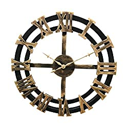 Framy Vintage Wall Clock, Handmade Oversized 3D Retro Rustic Decorative Luxury Art Big Gear Wooden Vintage Large Wall Clock on The Wall,40cm