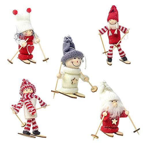 LAEMILIA 5 Stücke Mini Puppe Weihnachten Dekoration Klein Spielzeug Prop Klein Tischdeko Niedlich Schneemann Weihnachtsmann Mädchen Form Schilaufen Figuren Weihnachtsdeko Süß Deko (Set-0570, 5)