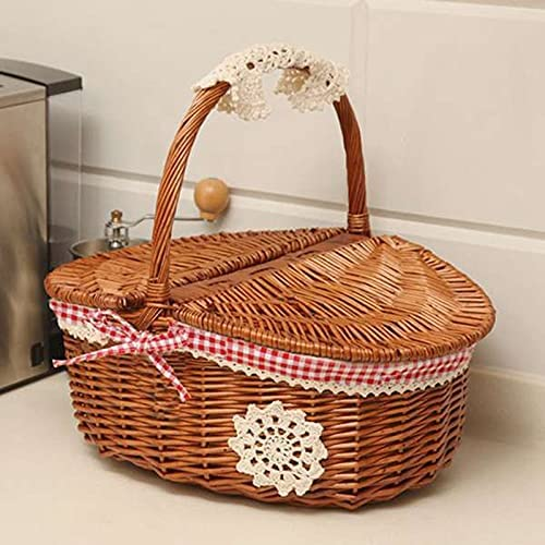 XUXUWA WH Wicker Willow Woven Picnic Ranking Max 65% OFF TOP8 and Handle Basket Lid with
