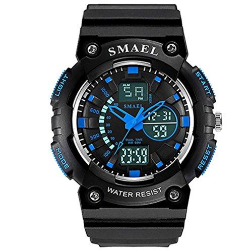 ZXZ-GO Uhren Multifunktionale Zeit Wasserdicht Kalender Kinder Leucht Wecker Elektronische Uhr, Black and Blue, Large