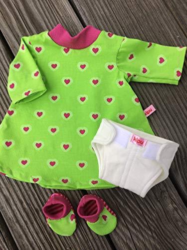 Puppenkleidung handmade Nachthemd + Schuhe + Windel für Puppen 36 - 38 cm
