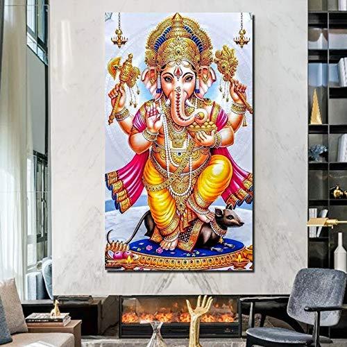 Ganesha Leinwand Kunst Bild Wohnzimmer Hauptdekoration Moderne Kunst Ölgemälde Poster Bild,Rahmenlose Malerei,50x90cm