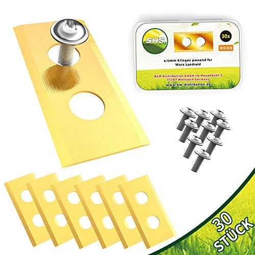 30x TITAN Messer Klingen LONGLIFE geeignet für WORX ® LANDROID Mähroboter/passen u.a.für WR Serie, M Serie, L Serie uvm. + 30 Schrauben