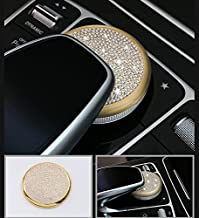 Boobo Ice Out Multimedia Mouse Buttons Center Console Knob adjust Cover Trim Luxury Badge Bling Emblem With Genuine Austrian Crystal For Mercedes Benz E C-Class GLC W205 W213 Gold Media Knob cyrcCE3
