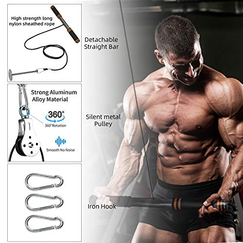Product Image 4: PELLOR LAT Pull Down Machine, Power Tower Adjustable Forearm Wrist Roller Trainer, Arm Strength Training Machine Exercise Pulley Cable System Gym Equipment for Home Workouts
