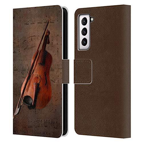 Head Case Designs Offizielle Simone Gatterwe Geige Vintage Und Steampunk Leder Brieftaschen Handyhülle Hülle Huelle kompatibel mit Samsung Galaxy S21 5G