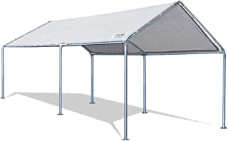 Quictent 10X20`ft Upgraded Heavy Duty Carport Car Canopy Party Tent with 3 Reinforced Steel Cables-Grey