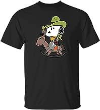 Snoopy on a Rocking Horse (T-Shirt; Black; XXX-Large)