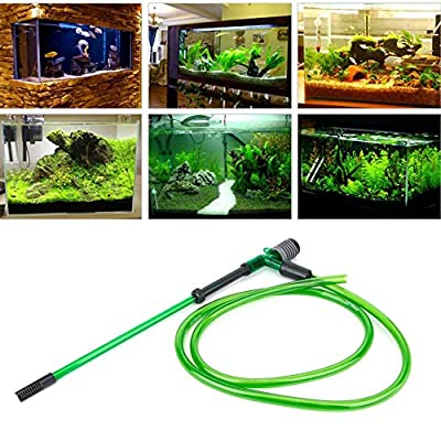 Pssopp Manual Siphon Water Changer Fish Tank Cleaning Waste Remover Aquarium Manual Pump Aquarium Vacuum Gravel Cleaner with Protective Net Cover(E600)