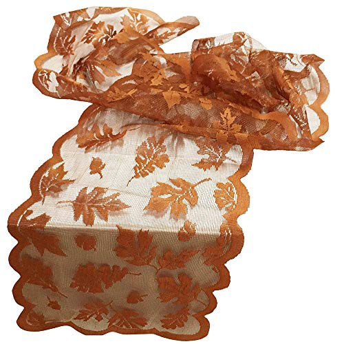 O/D Maple Leaf Lace Thanksgiving Table Runner, Dexuan Table Runner Fall Decor for Home Indoor Halloween Thanksgiving Harvest Decor, Perfect for Fall Dinner Parties Restaurant Decor (72'' L x 13'' W)