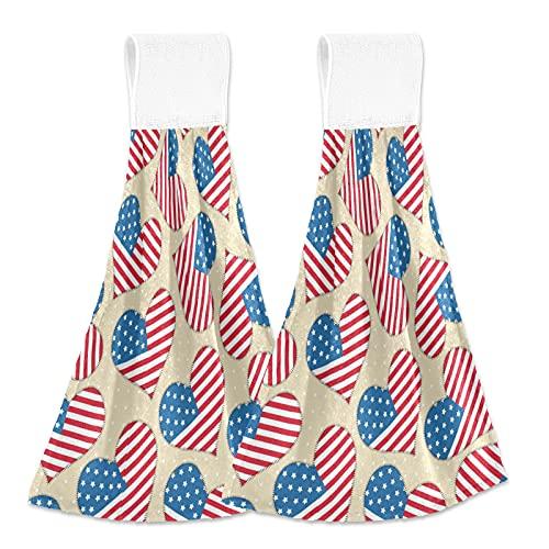 Toallas de cocina con lazo para colgar, 4 de julio de la independencia americana, toallas de cocina absorbentes, juego de 2
