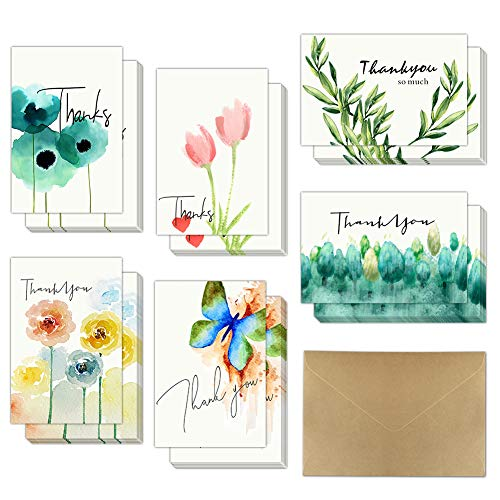 Thank You Cards Watercolor Folded Thank You Notes Card with Envelopes 36 Packs for All Occasion Wedding Graduation Bridal & Baby Shower Anniversary Business Engagement 4x6 inch Blank Inside