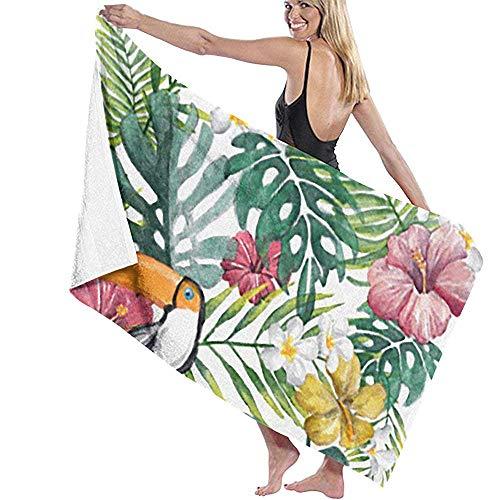 Lfff Toucan Hawaiano Suave Absorbente Ligero para baño Piscina Yoga Manta de Picnic Pilates Toallas de Microfibra 80 cm * 130 cm