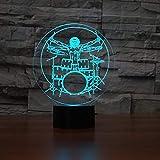 Set De Luz Nocturna De Ilusión 3D Instrumentos Musicales De Rock Luz Led Nocturna Lámpara De Mesa De Escritorio 7 Colores Cambiantes Para Dormir De Bebé