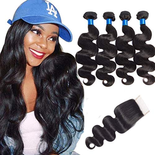 CRANBERRY Hair Brazilian Virgin Hair 4 bundles With Closure Body Wave Free Part 100 Unprocessed product image
