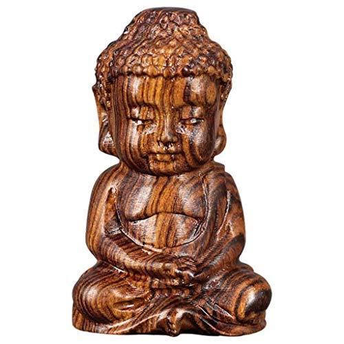 Ouceanwin Mönch Buddha Figuren Deko Skulptur Holz Betende Buddha Statue Sitzender Kleine Buddha Meditations , Handgeschnitzter Buddah Dekofiguren für Tischdeko, Wohnaccessoire