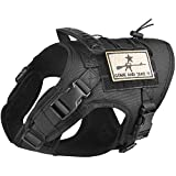 Tactical Dog Vest Harness, Outdoor Training Service Dog Vest Adjustable Military Working Dog Vest with Molle System and Rubber Handle (XL=26.8'-30.7' Chest (Adjustable), Black)